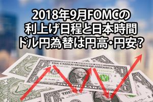 2018年9月FOMCの利上げ日程と日本時間 ドル円為替は円高・円安?